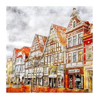 Marktplatz stadthagen germania illustrazione disegnata a mano di schizzo ad acquerello