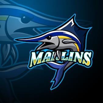 Design della mascotte logo marlin esport