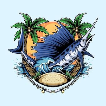Pesce marlin sulla spiaggia con palme da cocco e onde dell'oceano e pescatore