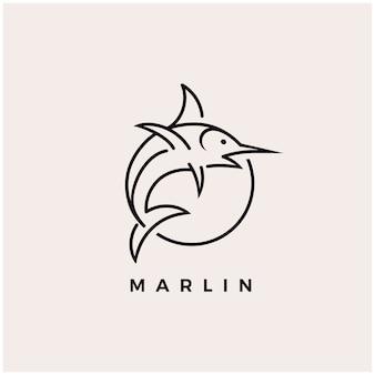 Illustrazione dell'icona di progettazione di logo di pesca del pesce di marlin