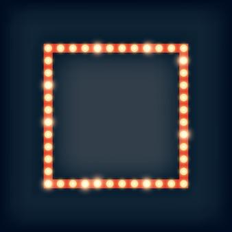 Luci del tendone nell'illustrazione della cornice quadrata