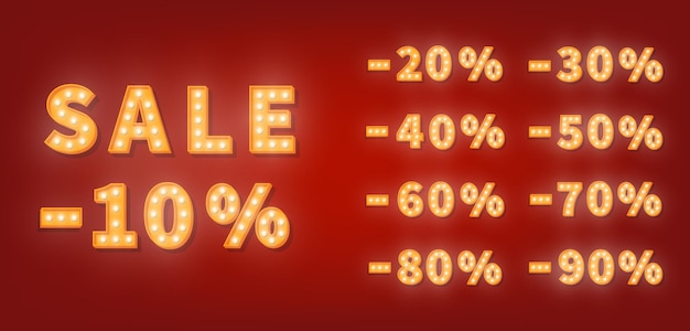 Numeri di sconto vendita tendone, set di numeri di lampadina d'oro. modello di prezzo di vendita di promozione