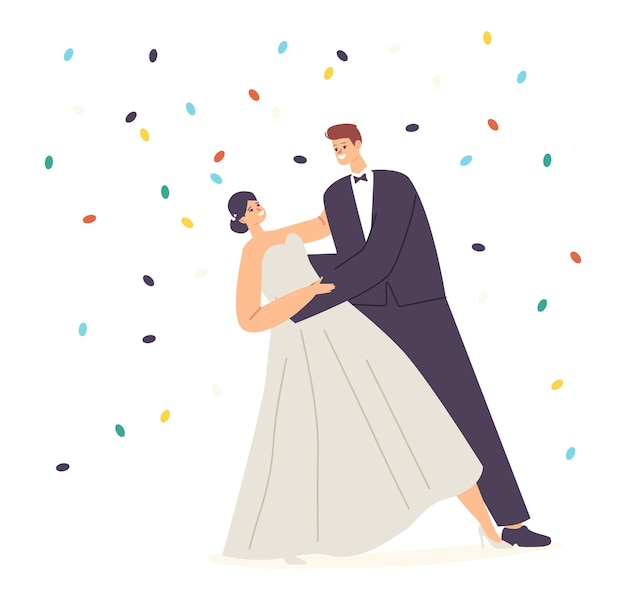 Celebrazione della cerimonia del matrimonio, giovane marito e moglie valzer sotto i coriandoli che cadono. felice coppia di sposini esegue balli di nozze. danza dei personaggi dello sposo e della sposa. cartoon persone illustrazione vettoriale Vettore Premium
