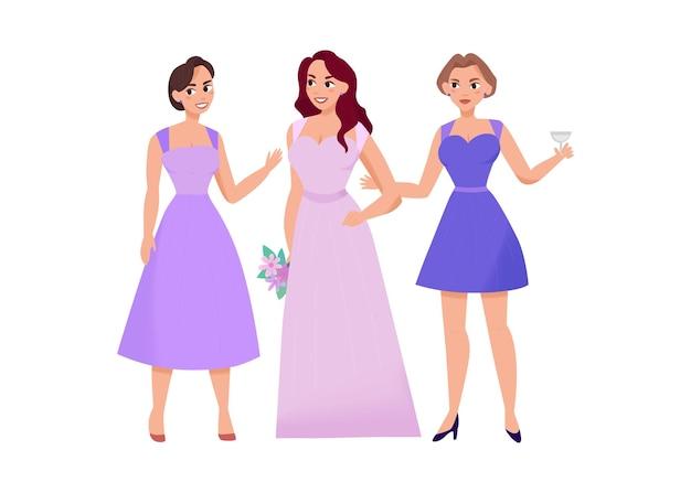 Composizione nel giorno delle nozze per la cerimonia del matrimonio con personaggi femminili di amiche dell'illustrazione della sposa