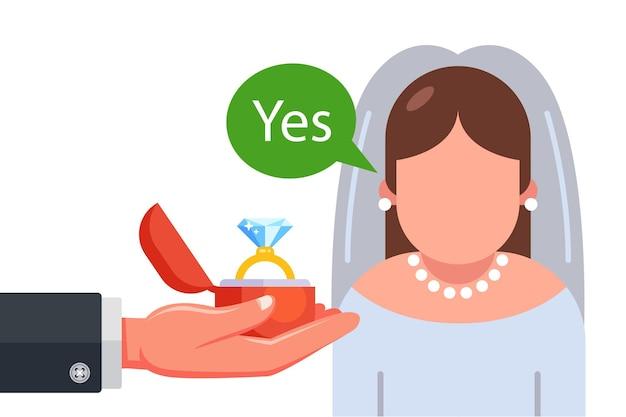 Proposta di matrimonio alla sposa nell'illustrazione piana del vestito da sposa