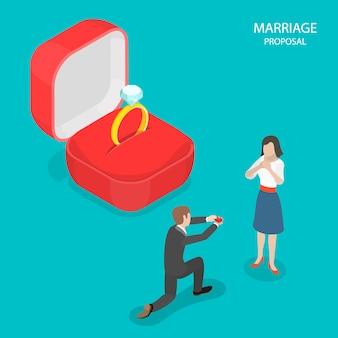 Vettore isometrico piatto proposta di matrimonio.