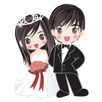 Coppia sposata marito e moglie felicità coppia personaggio dei cartoni animati disegnomanga anime