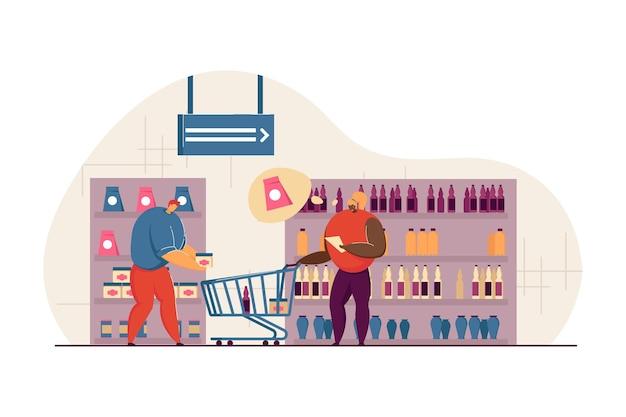 Coppia sposata che fa la spesa al supermercato. personaggio maschile dei cartoni animati che mette l'oggetto nel carrello, donna che controlla l'elenco dei prodotti piatti dell'illustrazione vettoriale. shopping, concetto di famiglia per banner, design di siti web