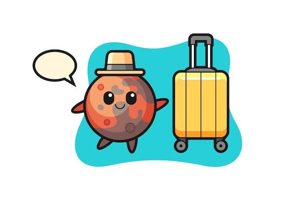 Illustrazione del fumetto di marte con bagagli in vacanza, design in stile carino per maglietta, adesivo, elemento logo