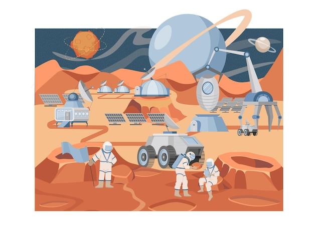 Missione di colonizzazione di marte vettore piatto illustrazione gruppo di astronauti e