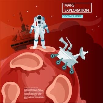 Esplorazione di marte. illustrazione di tecnologia del futuro