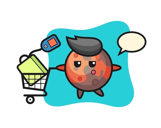 Fumetto dell'illustrazione di marte con un carrello della spesa, design in stile carino per t-shirt, adesivo, elemento logo