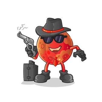 Mafia di marte con illustrazione della pistola