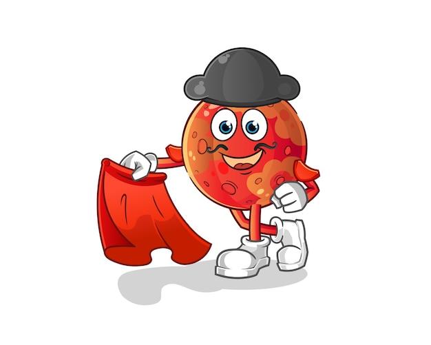 Mars matador con illustrazione di panno rosso