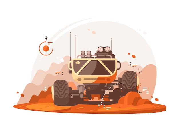 Mars rover esplora la superficie del pianeta marte. illustrazione piatta