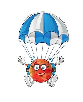 Personaggio di paracadutismo su marte. mascotte dei cartoni animati