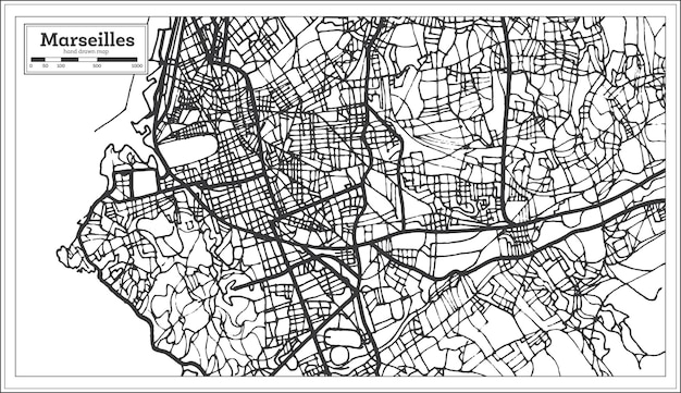 Mappa della città di marsiglia francia in stile retrò. mappa di contorno. illustrazione di vettore.