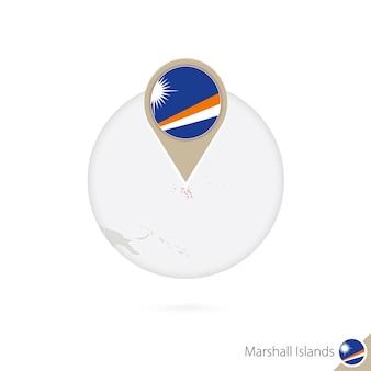 Mappa e bandiera delle isole marshall in cerchio. mappa delle isole marshall, perno della bandiera delle isole marshall. mappa delle isole marshall nello stile del mondo. illustrazione di vettore.