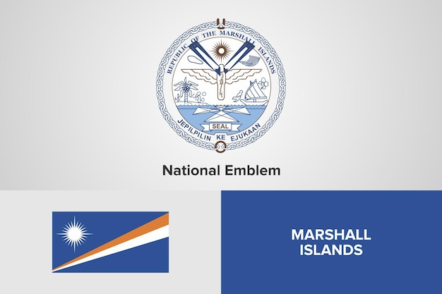 Modello di bandiera dell'emblema nazionale delle isole marshall
