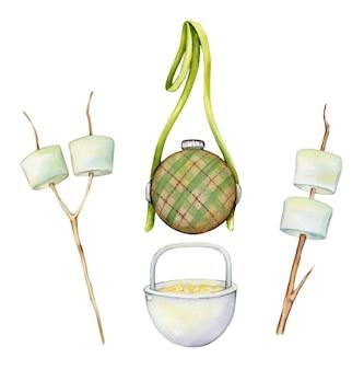 Marshmallow, una borraccia, per l'acqua, una pentola da campeggio. set acquerelli, elementi, per un picnic
