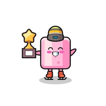 Il fumetto di marshmallow come un giocatore di pattinaggio sul ghiaccio tiene il trofeo del vincitore, un design in stile carino per maglietta, adesivo, elemento logo