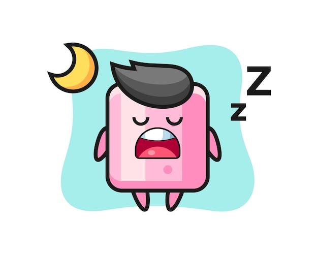 Illustrazione del personaggio di marshmallow che dorme di notte, design in stile carino per maglietta, adesivo, elemento logo