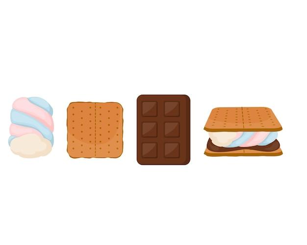 Set di marshmallow. graham cracker e barretta di cioccolato isolato su bianco