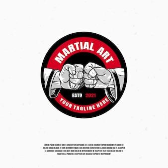 Illustrazione di logo di arte marziale vettore premium