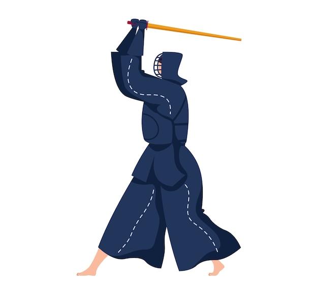 Arte marziale, guerriero spada, arma tradizionale giapponese. samurai con katana, illustrazione in stile cartone animato, isolato su bianco. noia di combattimento del paese del giappone, ninja nero, umano in indumenti protettivi.