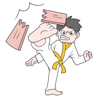 Ragazzo di arti marziali che dà dei calci al legno finché non si rompe, arte dell'illustrazione di vettore. scarabocchiare icona immagine kawaii.
