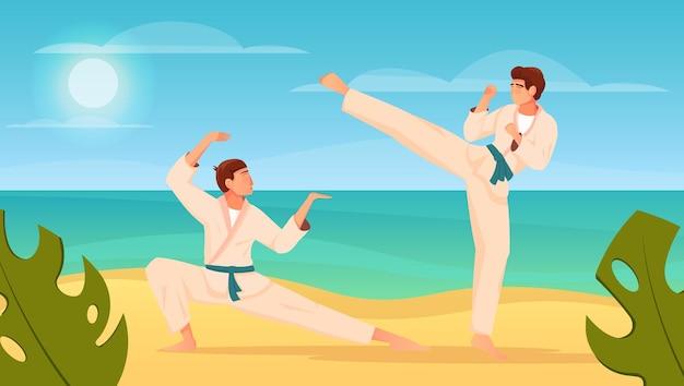 Composizione piatta di arti marziali con due combattenti nella lotta di karate per l'allenamento del kimono