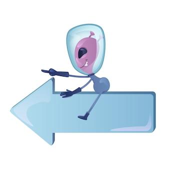 Marziano sulla freccia sinistra piatto fumetto illustrazione. alien che indica la direzione. modello di carattere 2d pronto per l'uso per pubblicità, animazione, design di stampa. eroe comico isolato