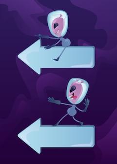 Kit illustrazioni di personaggi dei cartoni animati 2d marziani su arows