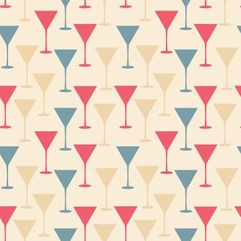 Illustrazione di vettore del modello senza cuciture del bicchiere da martini