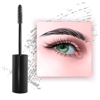 Mascara design foto con singolo occhio verde e ciglia 3d'illustrazione