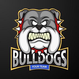 Mascotte del logo testa arrabbiato bulldog