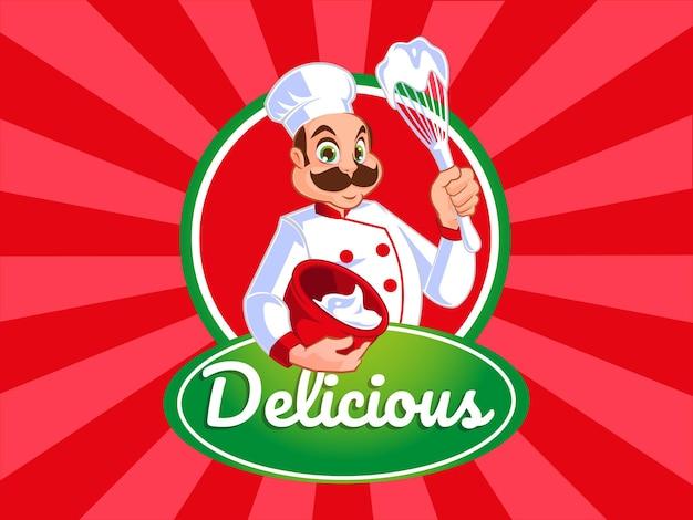 Mascotte panificio chef maschio che prepara l'impasto della torta