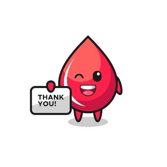 La mascotte della goccia di sangue con in mano uno striscione che dice grazie, un design in stile carino per maglietta, adesivo, elemento logo