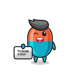 La mascotte della capsula con in mano uno striscione che dice grazie, un design in stile carino per maglietta, adesivo, elemento logo