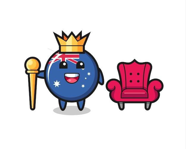 Mascotte del fumetto della bandiera dell'australia distintivo come un re, design in stile carino per maglietta, adesivo, elemento logo