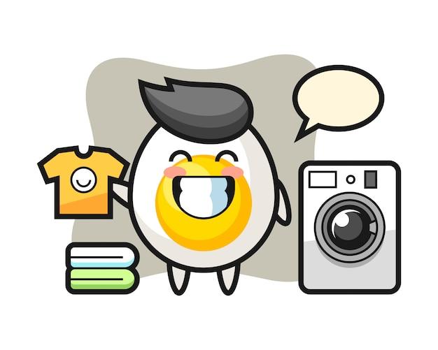 Fumetto della mascotte dell'uovo sodo con lavatrice