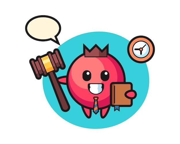 Fumetto della mascotte del mirtillo rosso come giudice, stile carino, adesivo, elemento del logo