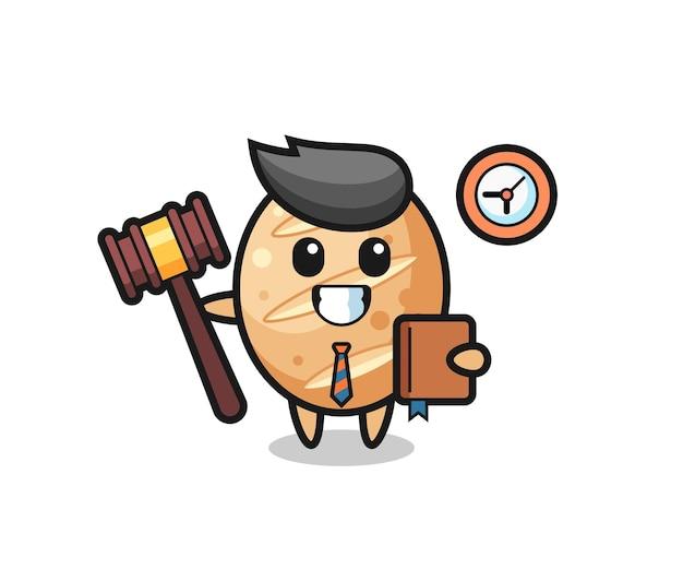 Cartone animato mascotte di pane francese come giudice, design carino
