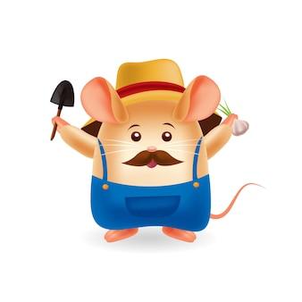 Mascotte dei cartoni animati. simpatico topo contadino. sfondo isolato. vettore premium