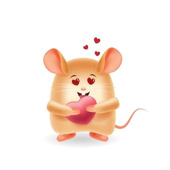 Mascotte dei cartoni animati. simpatico topo si innamora. sfondo isolato.