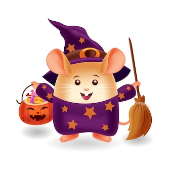 Mascotte dei cartoni animati. caramella da portare e scopa d'uso del costume della strega del topo sveglio. sfondo isolato.