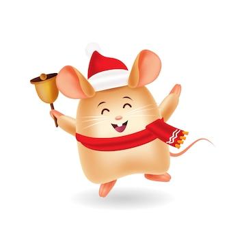 Mascotte dei cartoni animati. mouse sveglio con la campana dell'anello della tenuta del cappello di natale. sfondo isolato.