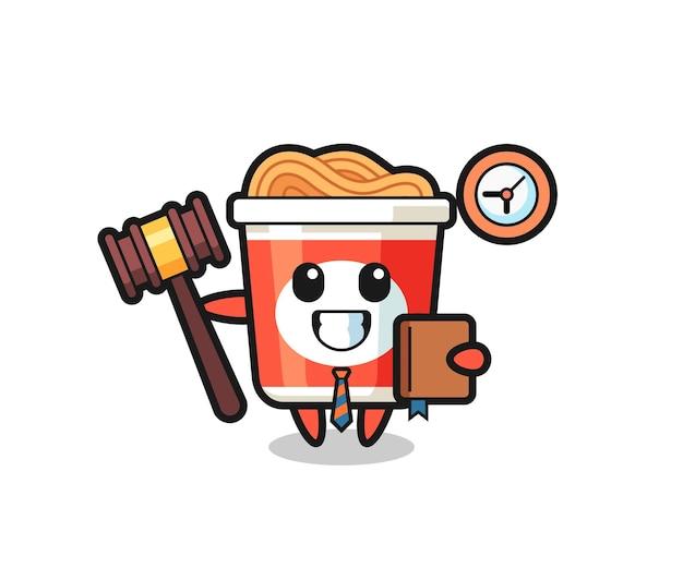 Cartone animato mascotte di spaghetti istantanei come giudice, design in stile carino per maglietta, adesivo, elemento logo
