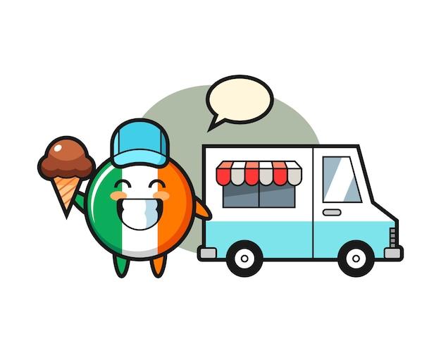 Fumetto della mascotte del distintivo della bandiera dell'irlanda con camion dei gelati