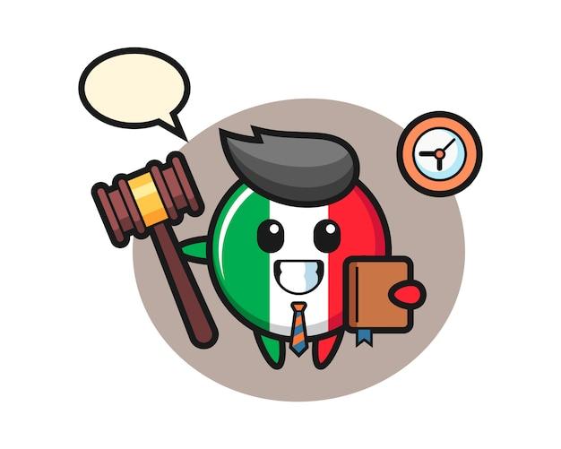 Fumetto della mascotte del distintivo della bandiera dell'italia come giudice, stile carino, adesivo, elemento del logo